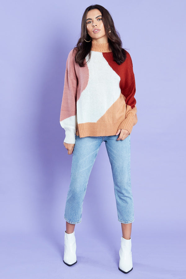 Swirl Colour Block Jumper with Roll Neck <br/> Multi