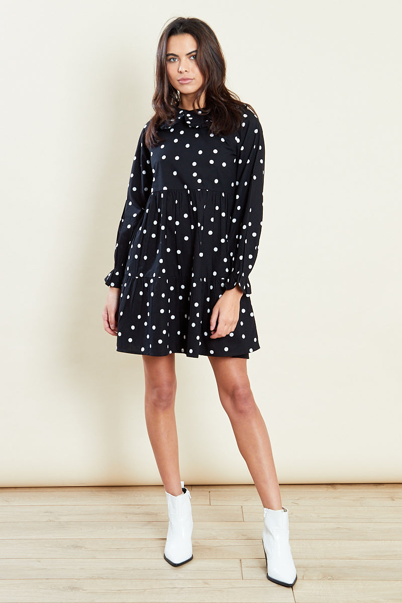 Polka Dot Mini Smock Dress with Frill Collar <br/> Black