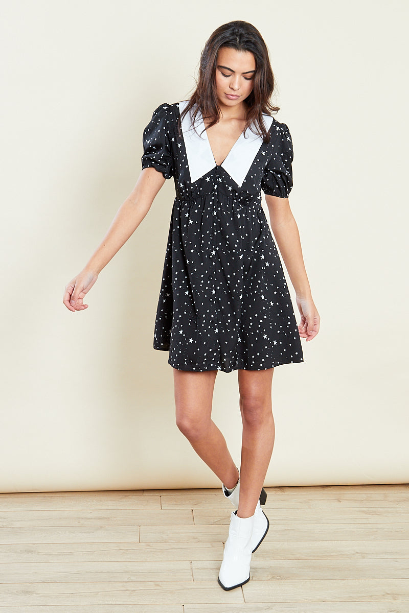 Peterpan Collar Mini Dress Star Print <br/> Black