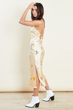 Constellation Midi Slip Dress <br/> Yellow