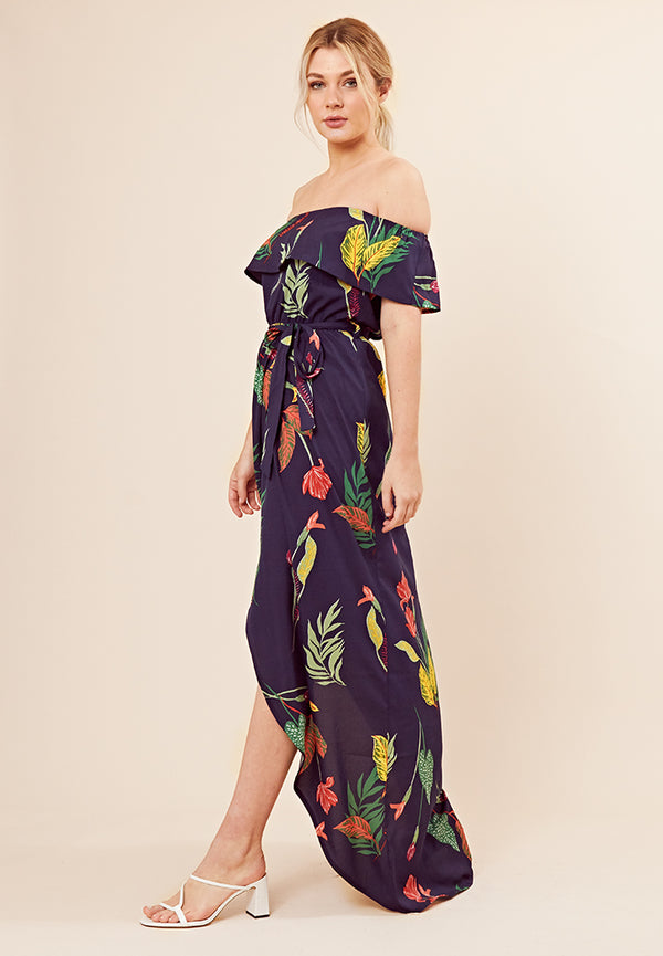 Floral Print Bardot Maxi Dress <br> Multi