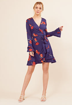 Wrap Frill Floral Mini Dress <br> Navy