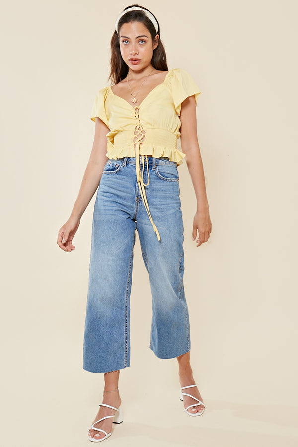 Lace Up Shirred Waist Crop Top <br> Yellow