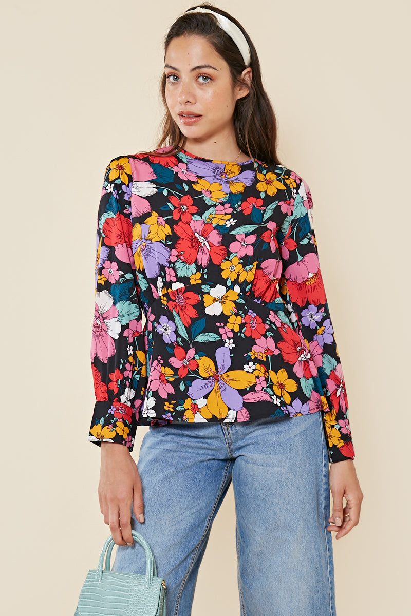 Retro Floral Peplum Top <br> Multi
