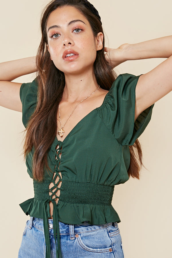 Lace Up Shirred Waist Crop Top <br> Green