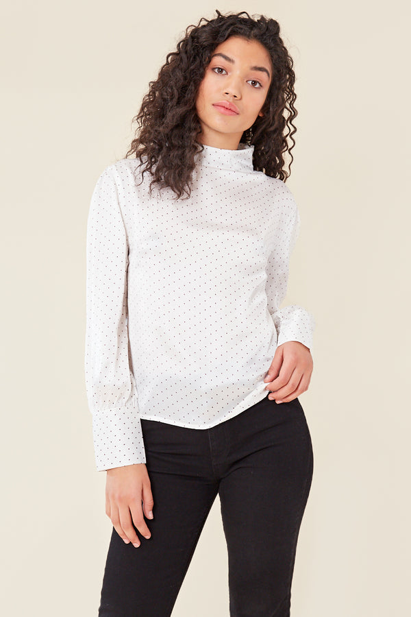 High Neck Spot Print Satin Blouse </br> White