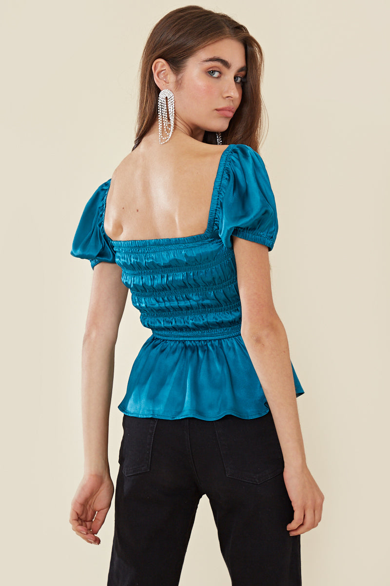 Satin Puff Sleeve Ruched Top </br> Blue