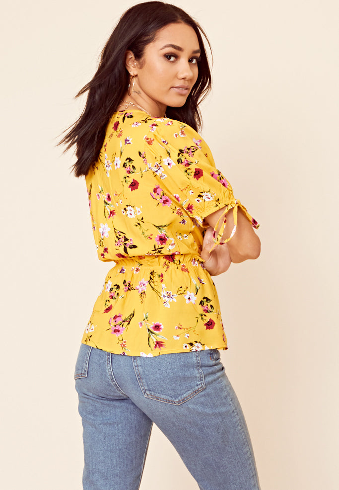 Floral Print Wrap Front Top <br> Yellow