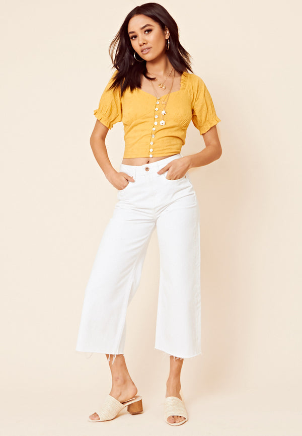 Button Front Broderie Crop Top <br> Yellow