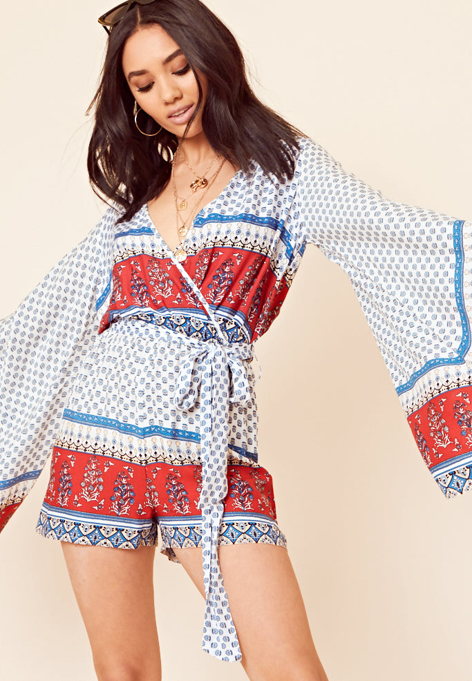Long-Sleeved Wrap Playsuit <br> White