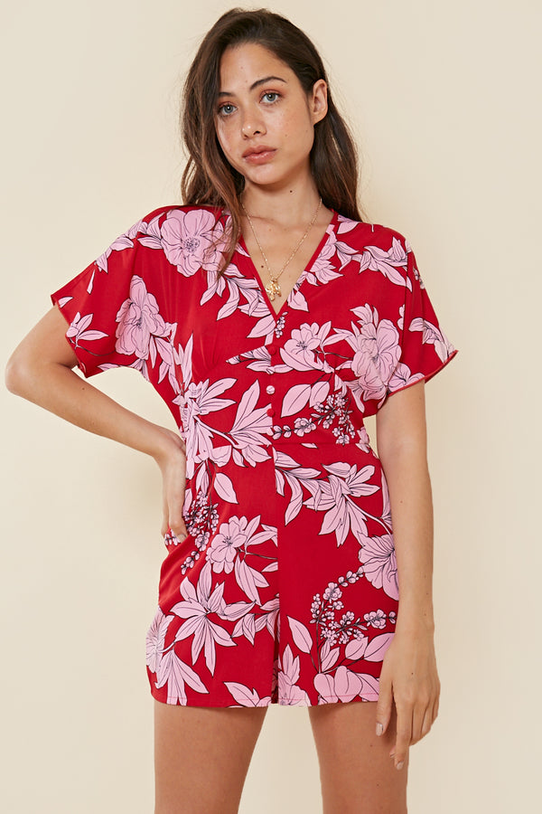 Block Floral Wrap Playsuit <br> Red