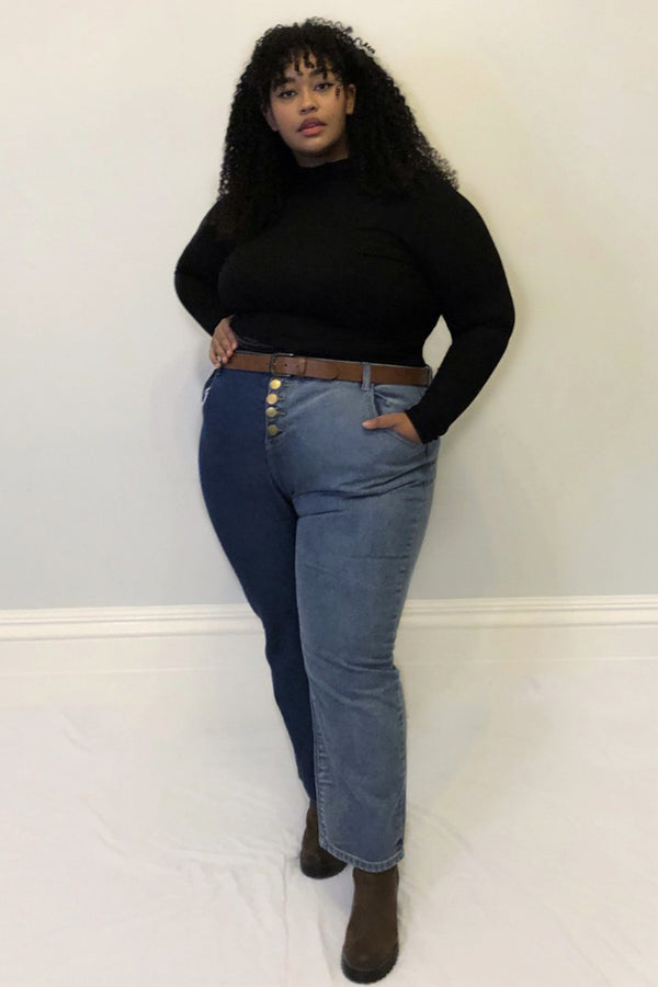 Button Front High Waist Mom Jeans <br/> Curve