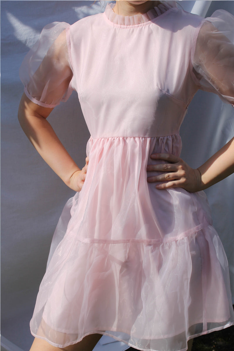 Organza Tie Back Mini Smock Dress <br/> Pink
