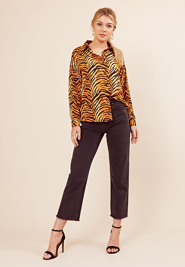 Tiger Print Oversized Shirt <br> Orange