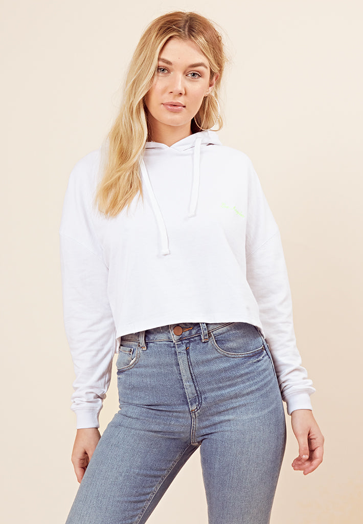 Los Angeles Cropped Hoodie <br> White