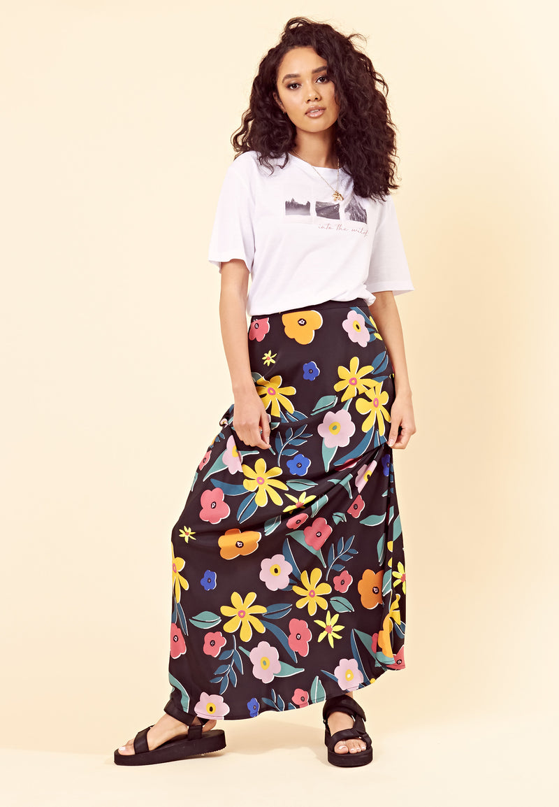 Retro Floral Bias Cut Maxi Skirt <br> Multi