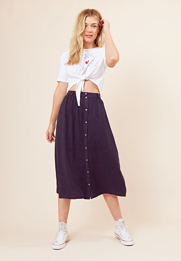 Denim Button Front Midi Skirt <br> Navy
