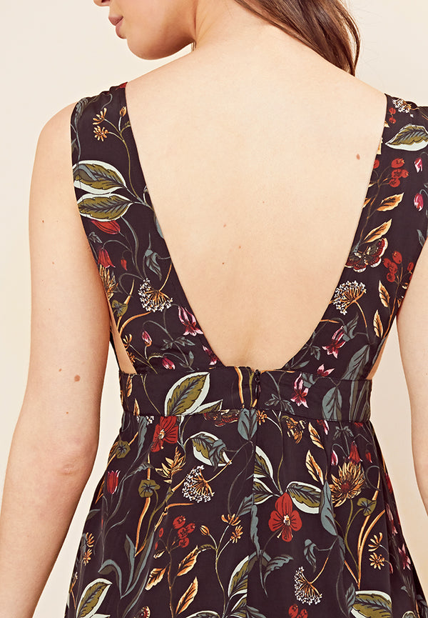 Botanical Floral Pinafore Jumpsuit <br> Black