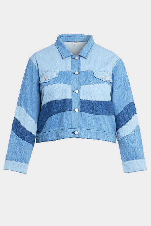 Tonal Patchwork Denim Jacket - Curve