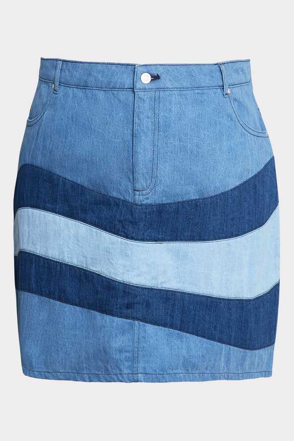 Tonal Patchwork Denim Mini Skirt - Curve