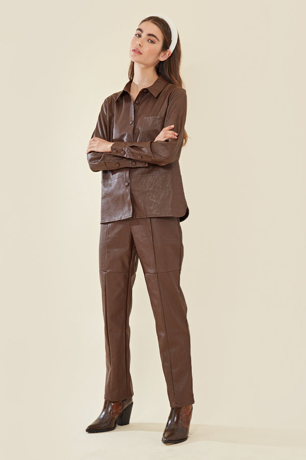 Faux Leather Oversized Shirt </br> Brown