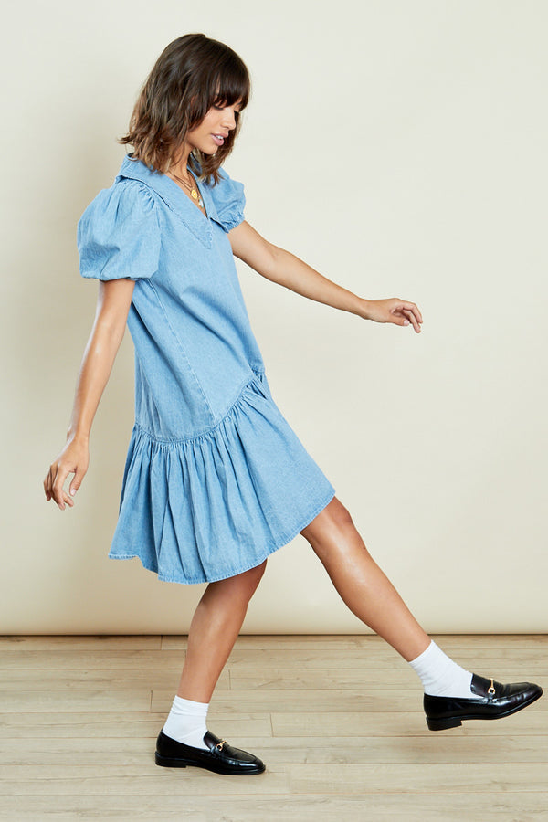 Denim Smock Dress with Contrast Collar <br/> Blue