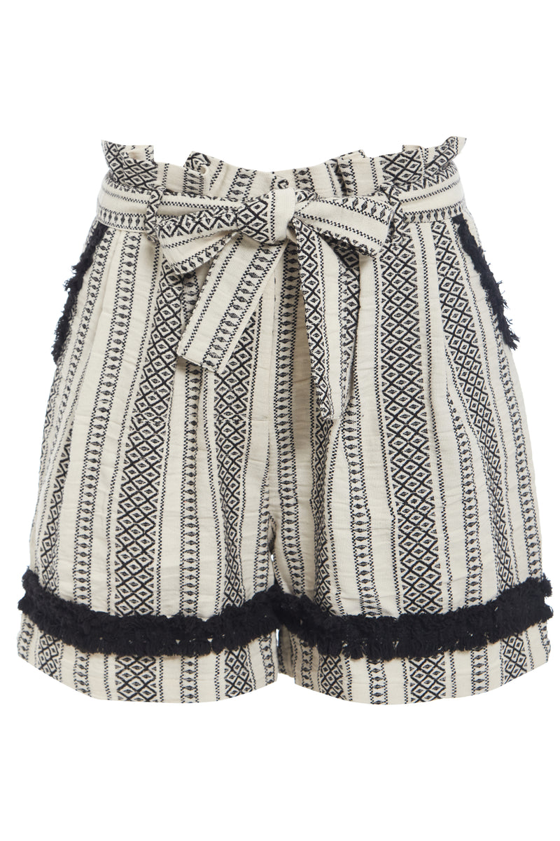 Stripe High Waist Shorts - White
