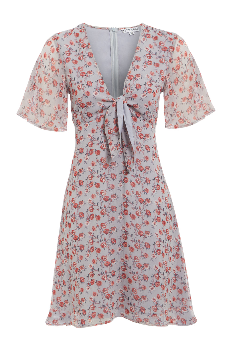 Rosie Ditsy Tea Dress - Grey