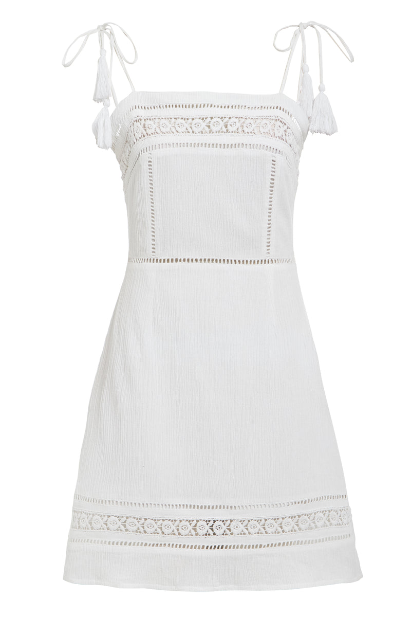 Peasant Sundress With Tassels - White