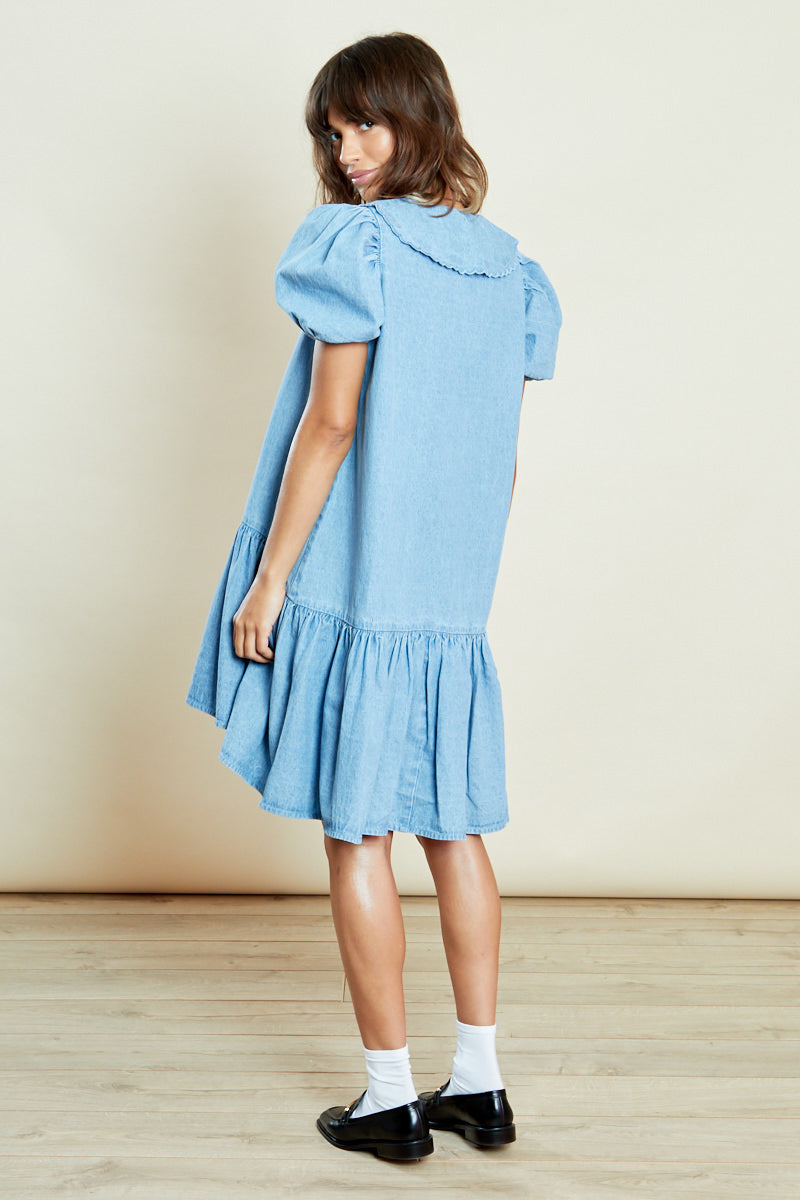 Denim Smock Dress with Contrast Collar <br/> Curve