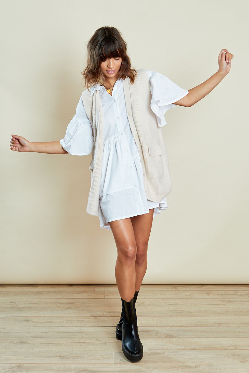 Oversized Asymmetric Hem Shirt <br/> White