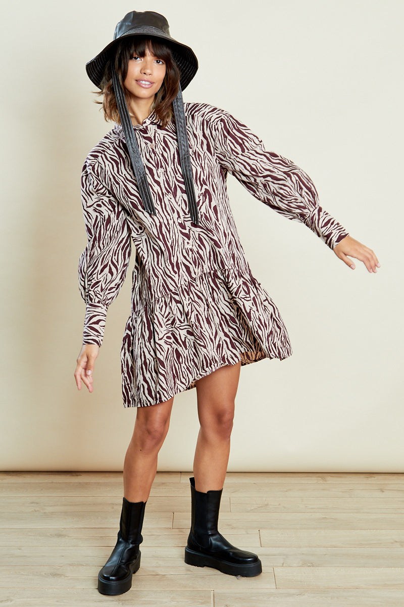 Dreya Animal Full Drop Waist Shirt Dress <br/> Brown