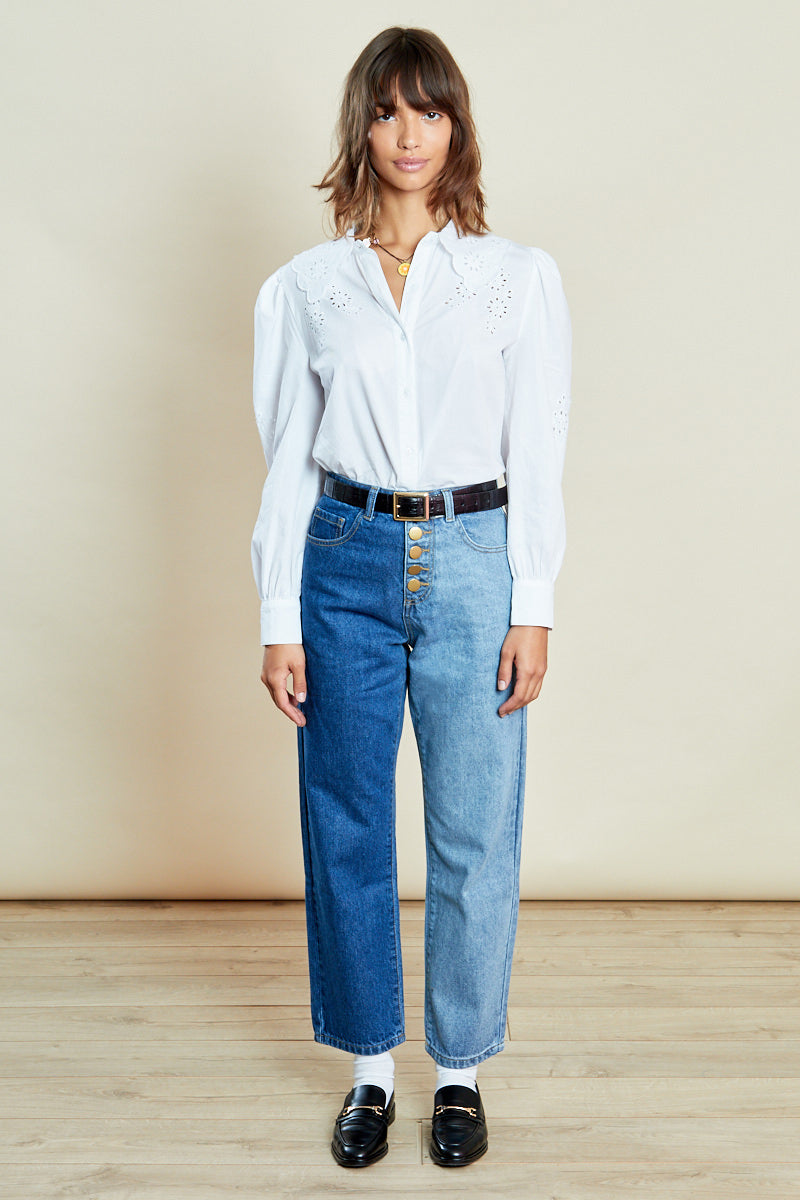 Button Front High Waist Denim Mom Jeans <br/> Blue