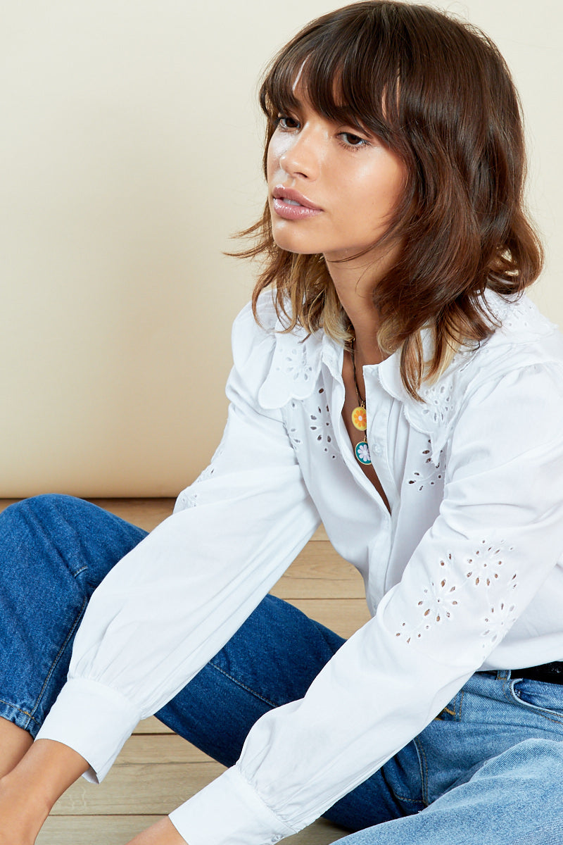Embroidered Puff Sleeve Shirt <br/> White
