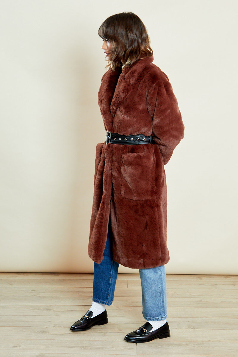 Faux Fur Oversized Belted Coat </br> Brown
