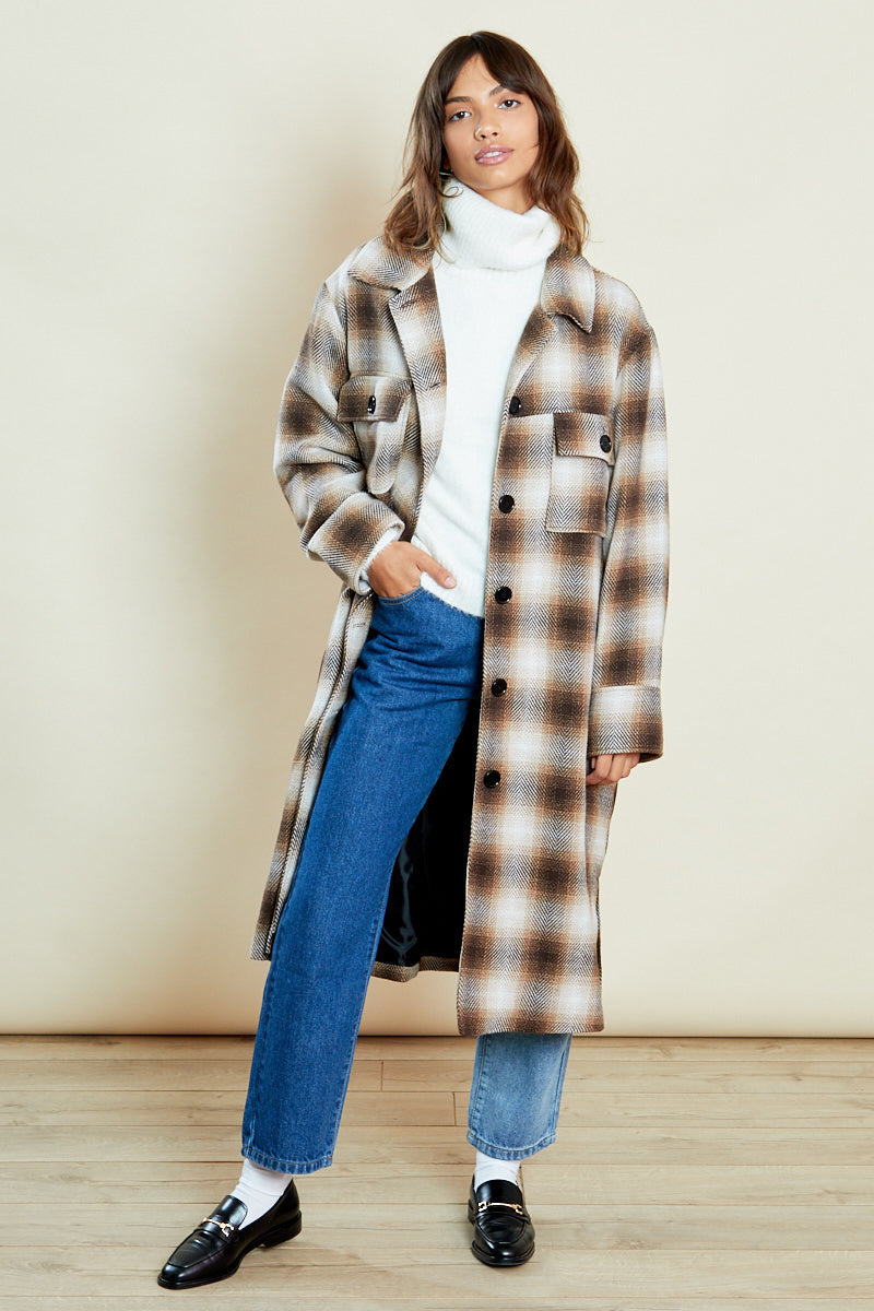 Oversized Throw on Check Coat <br/> Brown