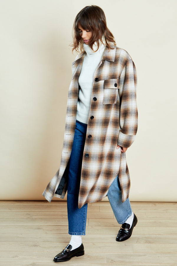 Oversized Throw on Check Coat Trucker <br/> Brown