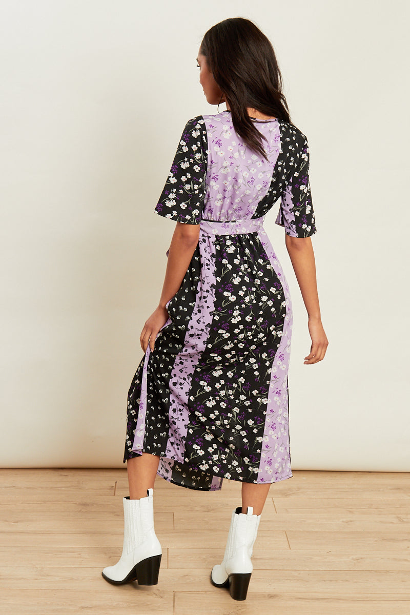 Mixed Floral Print Wrap Midi Dress with Split Front</br> Multi