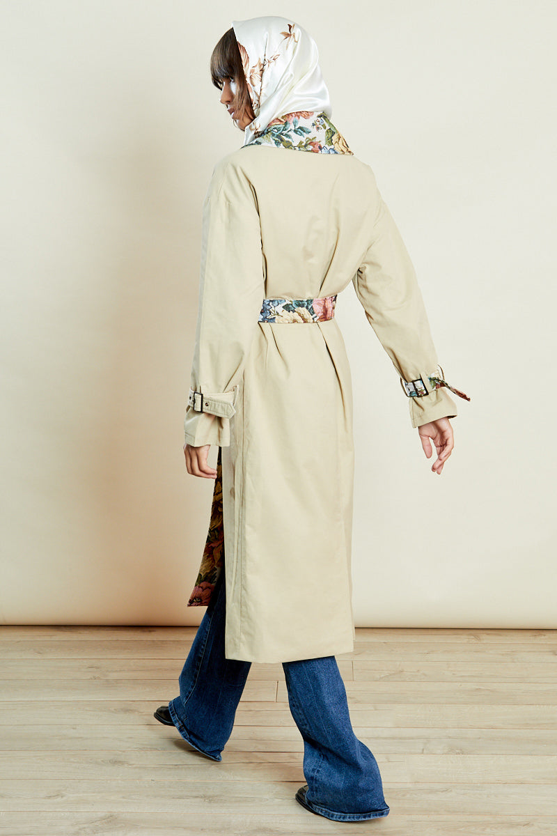 Belted Trench Coat with Contrast Floral <br/> Beige