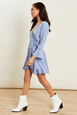 Spot Flared Sleeve Ruffle Hem Wrap Mini Dress</br> Blue