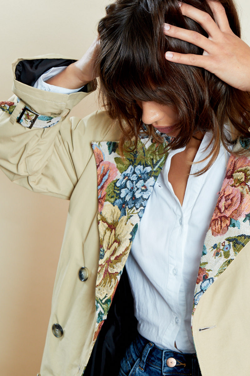 Belted Trench Coat with Contrast Floral <br/> Curve