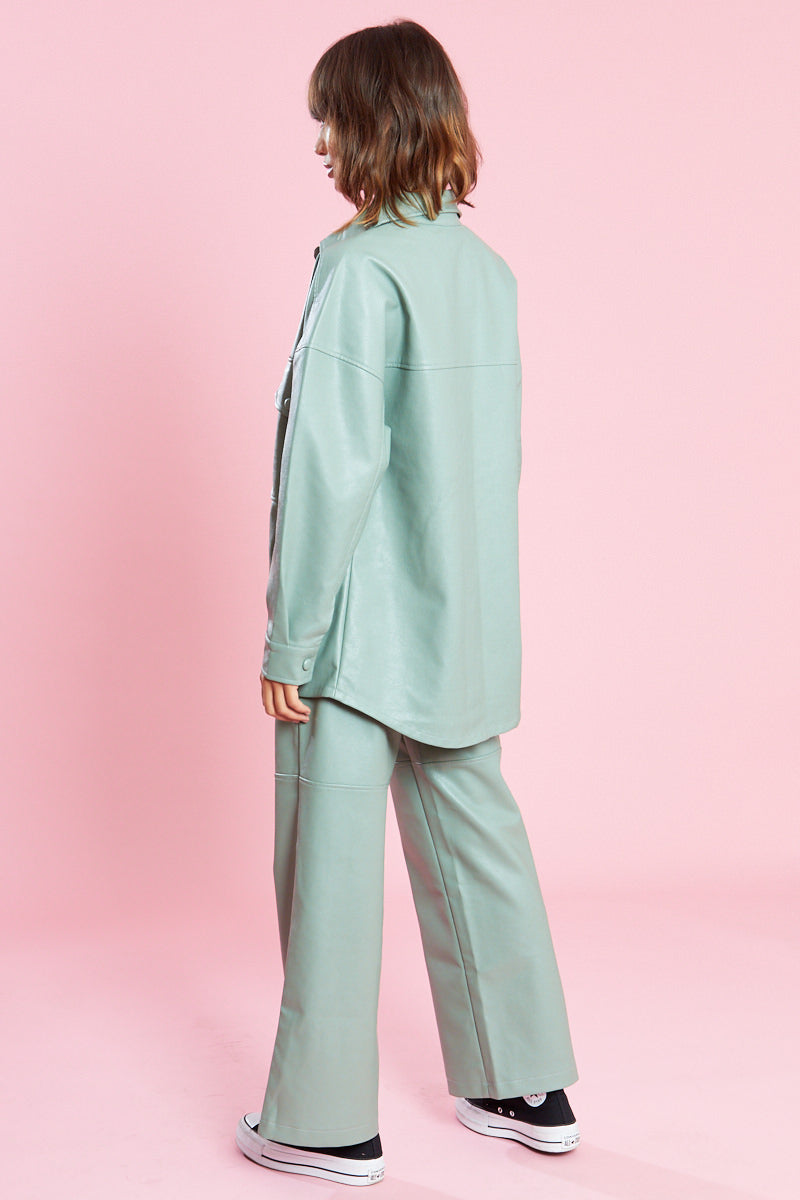PU Oversized Shacket with Patch Pockets <br/> Curve