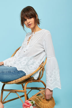 Wide Sleeve Embroidered Blouse - White