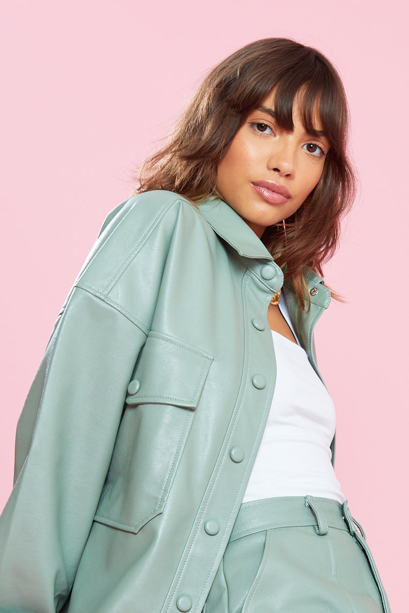 PU Oversized Shacket with Patch Pockets <br/> Green