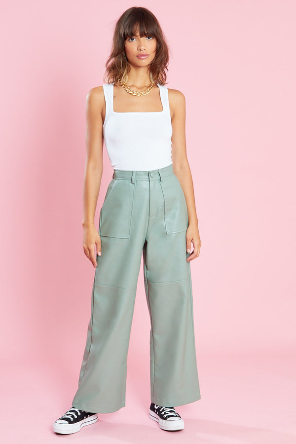 PU Wide Leg Trousers with Pocket Detailing <br/> Green