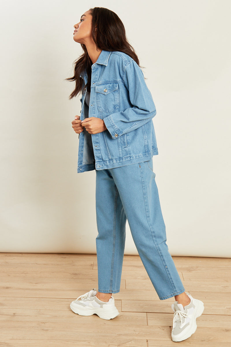 Light Wash Oversized Denim Jacket </br> Blue