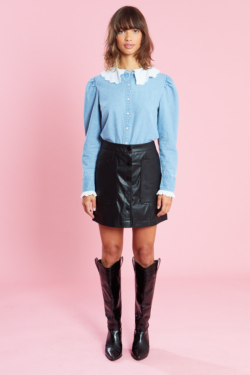 Embroidered Collar Shirt in Denim Mix <br/> Blue