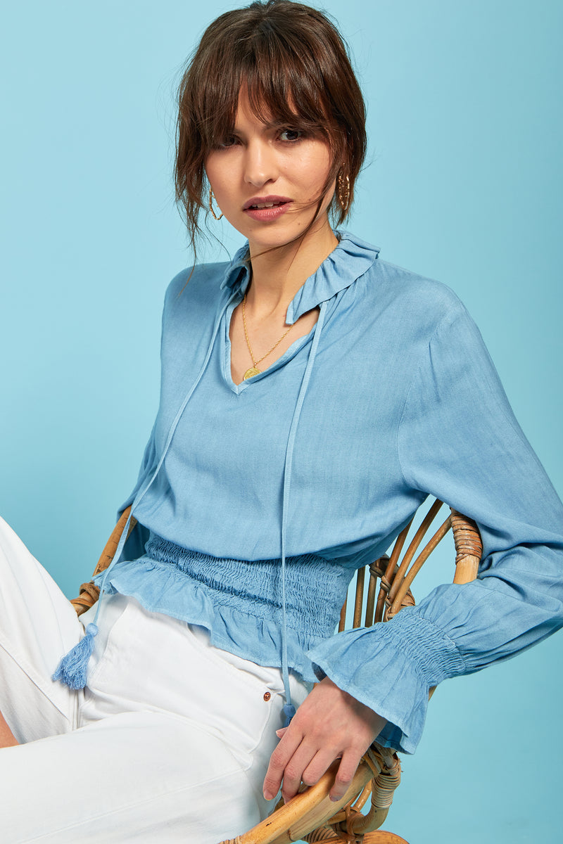Chambray Peasant Crop Top - Blue