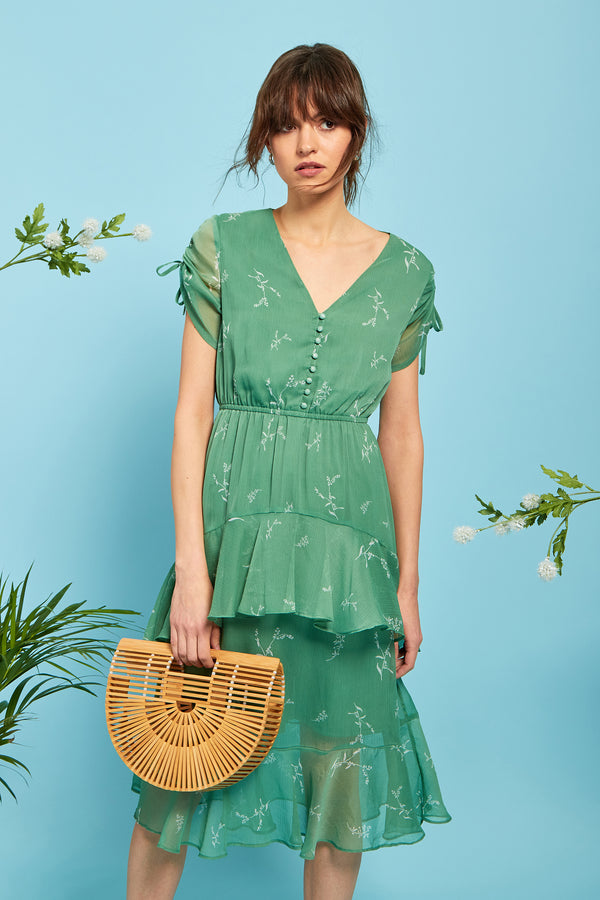 Heather Floral Midi Ruffle Dress - Green