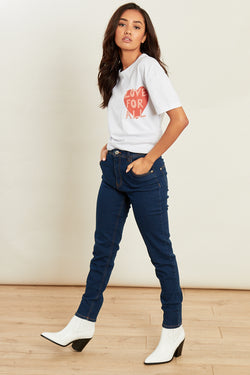 High Waist Skinny Jeans in Mid Wash </br> Blue